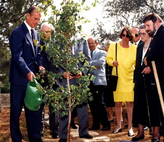Archive Photo from Yad Vashem: Prince Philip at the tree planting in 1994 in honour of his Mother, Princess Alice of Greece