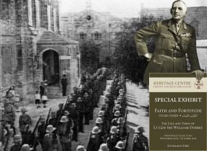 William Dobbie was sent to Holy Land in 1929 to quell the riots. In this image behind Dobbie is the first Battalion of South Wales Borderers in the Christ Church courtyard in October 1929.
